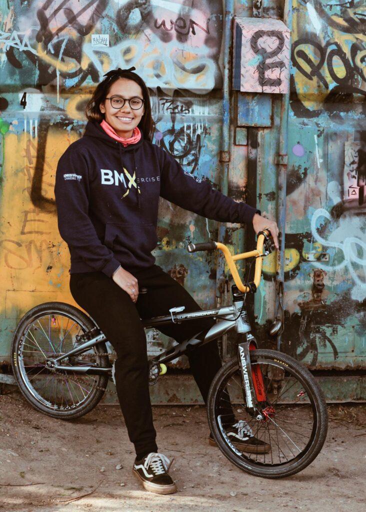Silvi on a bmx racing bike